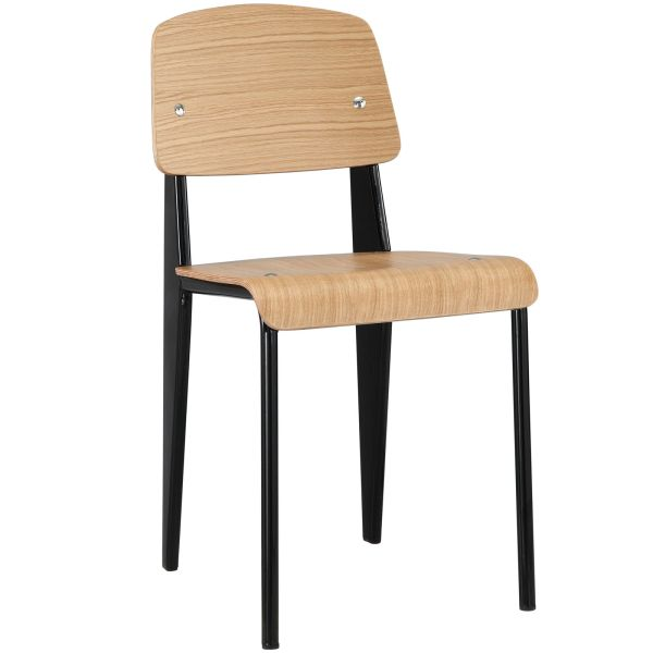 Jean Prouve Style Dining Side Chair - Natural & Black