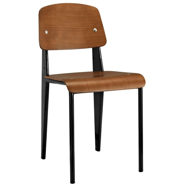 Jean Prouve Style Dining Side Chair - Walnut & Black
