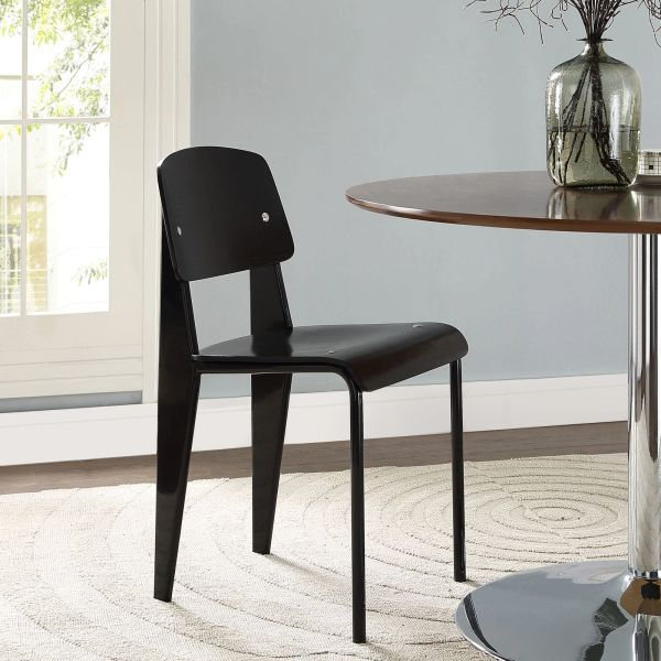 Jean Prouve Style Dining Side Chair - Black & Black