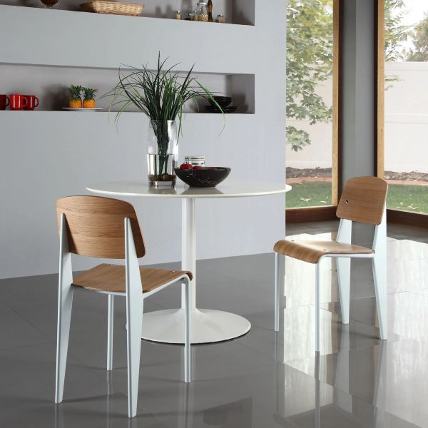 Jean Prouve Style Dining Side Chair - Natural & White