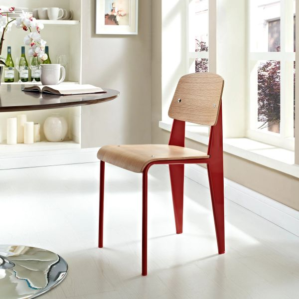 Jean Prouve Style Dining Side Chair - Natural & Red