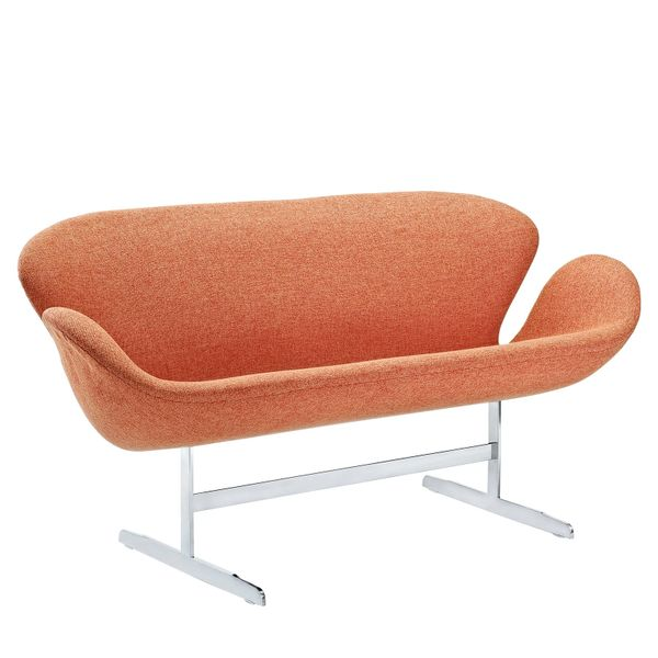 "Arne Jacobsen Style Loveseat - Orange 56"""
