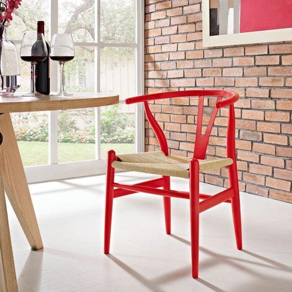 Hans Wegner Style Wishbone Chair - Red
