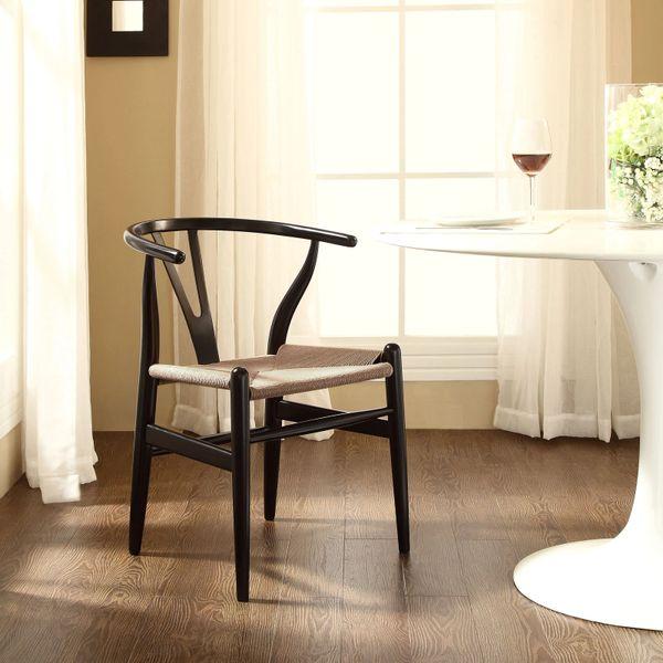 Hans Wegner Style Wishbone Chair - Black