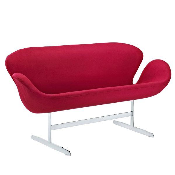 """Arne Jacobsen Style Loveseat - Red - 56"""""""