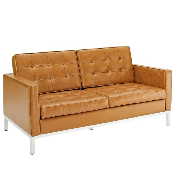 Phenomenal Florence Knoll Style Leather Loveseat Tan 63 Dailytribune Chair Design For Home Dailytribuneorg