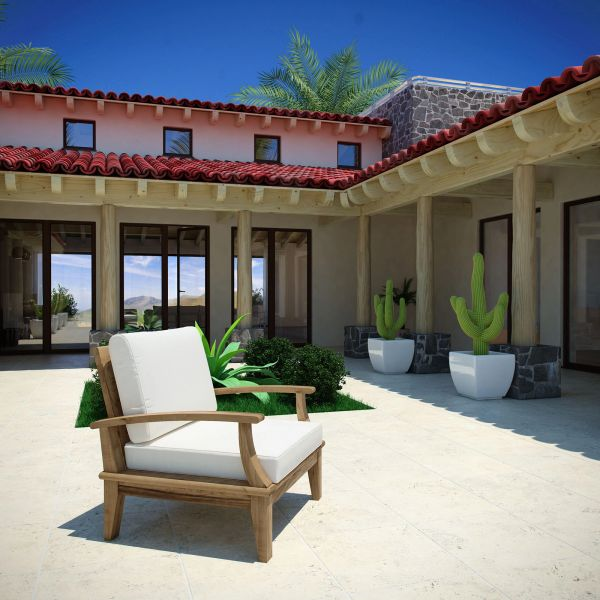 T1D Outdoor Patio Teak Armchair - Natural & White