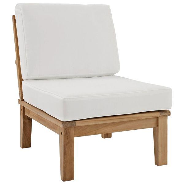 T1D Outdoor Patio Teak Armless Sofa - Natural & White