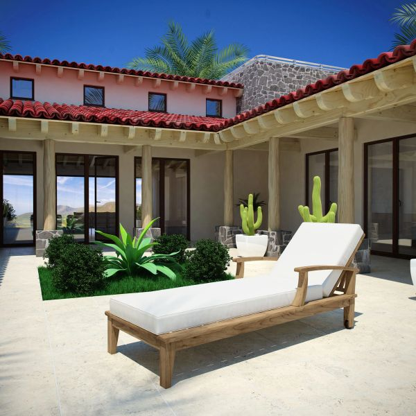 T1D Outdoor Patio Single Chaise - Natural & White