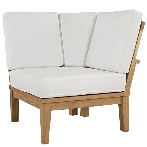 T1D Outdoor Patio Corner Sofa - Natural & White