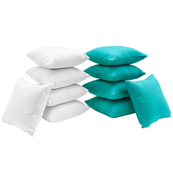 T1D Ten Piece Outdoor Pillow Set - White/Turquoise
