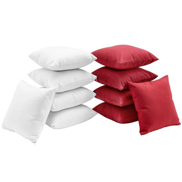 T1D Ten Piece Outdoor Pillow Set - White/Red