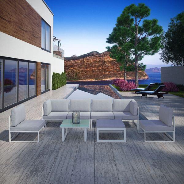 Key Largo 8 Piece Outdoor Sectional Sofa Set - White & Gray