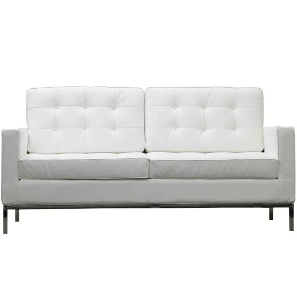 """Florence Knoll Style Leather Loveseat-White - 63"""""""