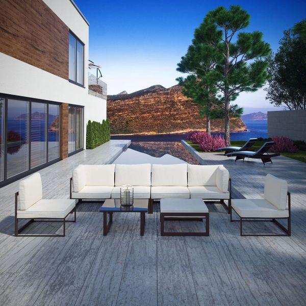 Key Largo 8 Piece Outdoor Sectional Sofa Set - Brown & White