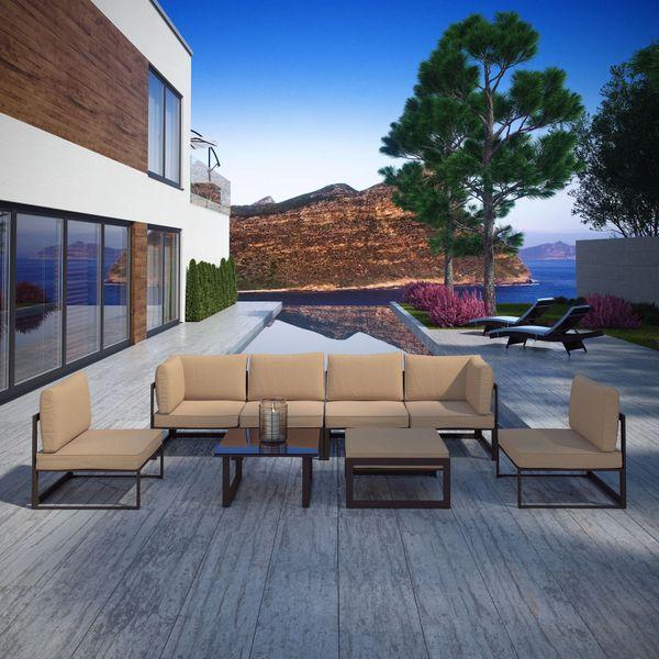 Key Largo 8 Piece Outdoor Sectional Sofa Set - Brown & Mocha