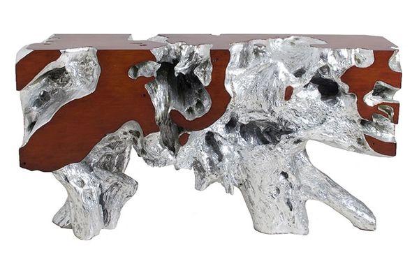 T1D Console Table Silver Leaf, Faux Bois, SM