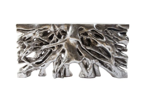 T1D Root Console Table Silver Leaf