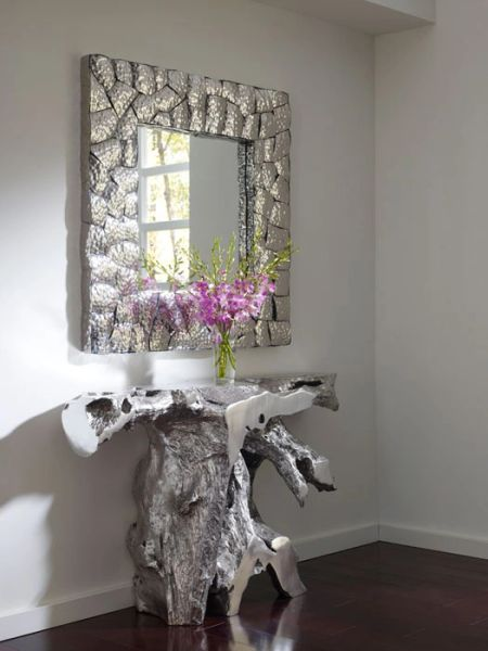 T1D Brivo Console Table Silver Leaf