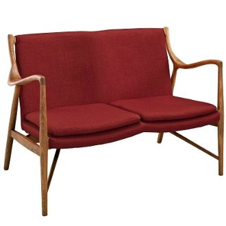 """Finn Juhl Style Loveseat - Maple & Red - 50"""""""