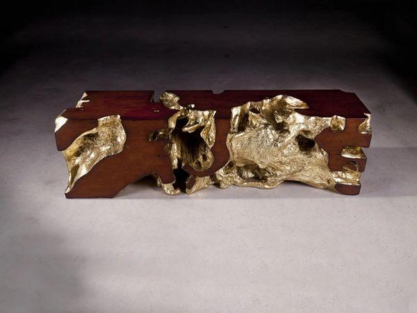 T1D Bench Gold Leaf, Faux Bois J