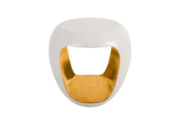 T1D Grotto Side Table Pearl White and Gold Leaf