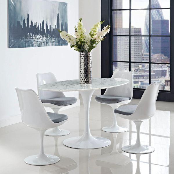 """Saarinen Style Tulip Oval Marble Dining Table 60"""""""
