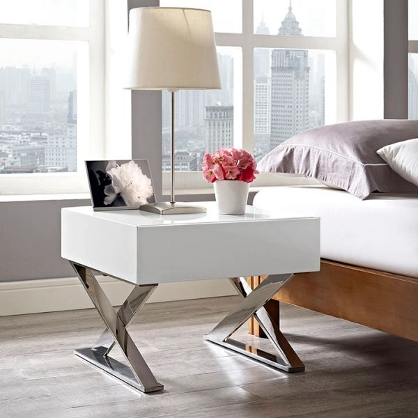 """Nightstand / Side Table - White -20"""""""