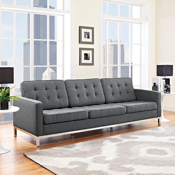 Florence Knoll Style Fabric Sofa-Gray