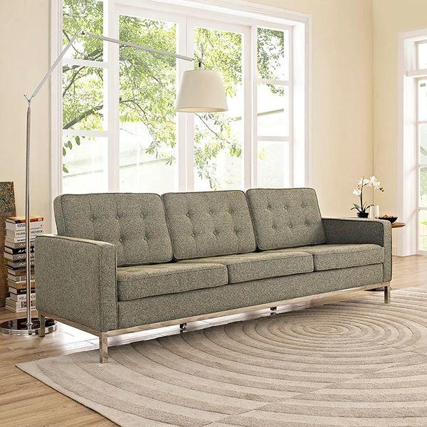 Florence Knoll Style Fabric Sofa-Oatmeal