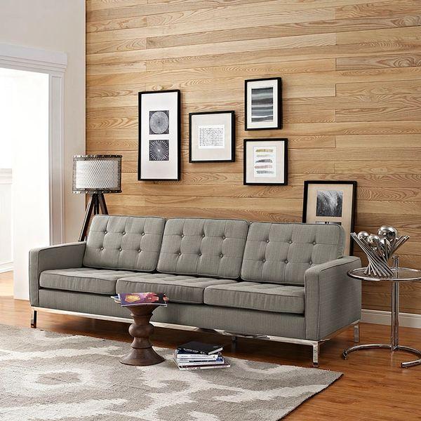 Florence Knoll Style Fabric Sofa-Granite