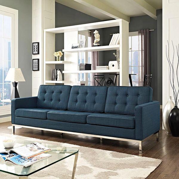 Florence Knoll Style Fabric Sofa-Azure
