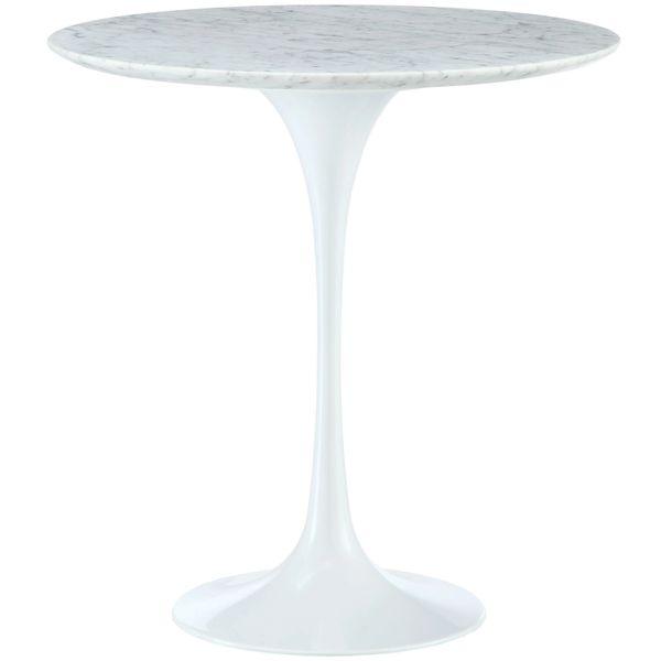 Saarinen Style Round Marble Side Table-White-20