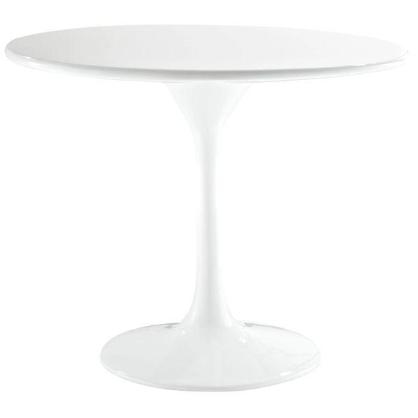 """Saarinen Style Fiberglass Side Table-White-20"""""""