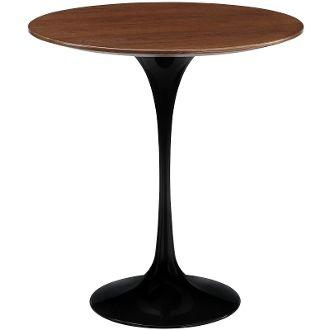 Saarinen Style Walnut Side Table-Black-20