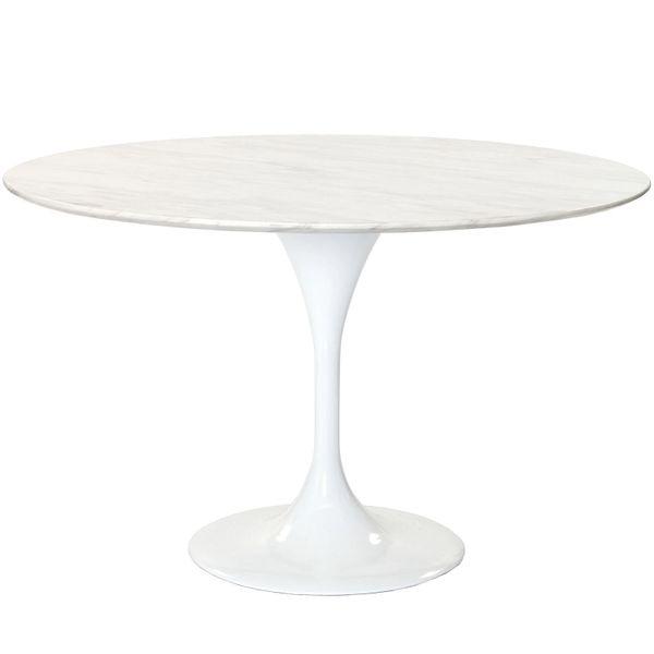"Saarinen Style Tulip Dining Table-47"" Black Genuine Marble"