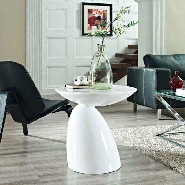 "John Steed Fiberglass Side Table-White-23"""