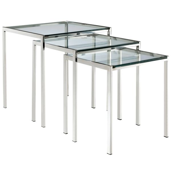 Barney Nesting Side Table-Glass and Metal