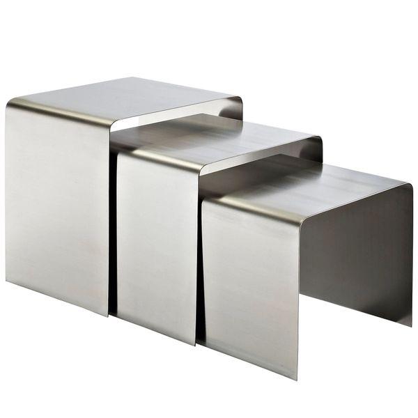 Rush Nesting Table-Silver