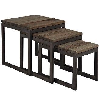 Barney Wood Top Nesting Side Table-Brown