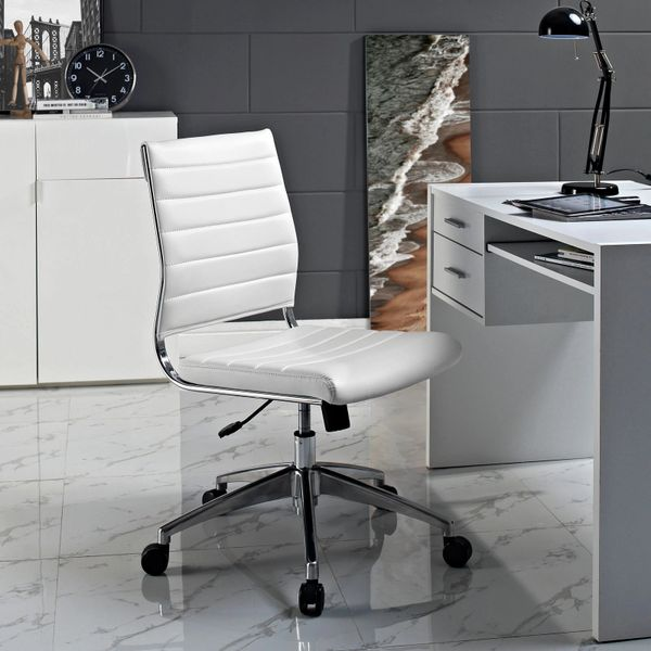 Armless Midback Office Chair - White