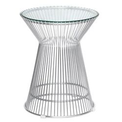 """Jan Round Wire and Glass Side Table 15"""""""