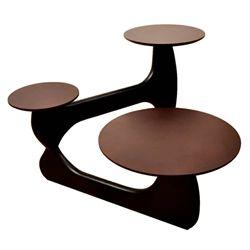 Noguchi Style 3 TIER Coffee Table Wood Top & Wood Base-Brown