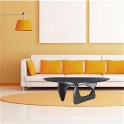 Noguchi Style Coffee Table Wood Top & Wood Base-Black