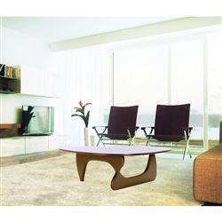 Noguchi Style Coffee Table Wood Top & Wood Base-Brown