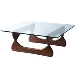 Noguchi Style Coffee Table-Square Glass & Walnut