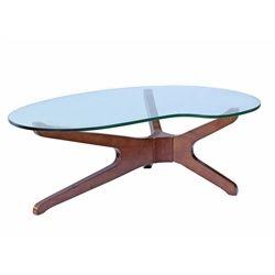 Sorrell Glass Top Coffee Table-Walnut