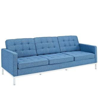 Florence Knoll Style Wool Sofa-Blue Tweed