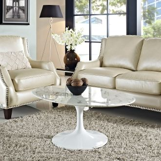 "Saarinen Style Oval Marble Coffee Table-42"""