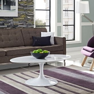 """Saarinen Style Oval Lacquered Coffee Table - White - 42"""""""